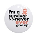 Uterine Cancer I am a Survivor Ornament (Round)