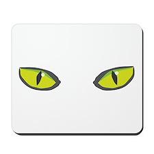 Yellow green cat eyes - halloween Mousepad