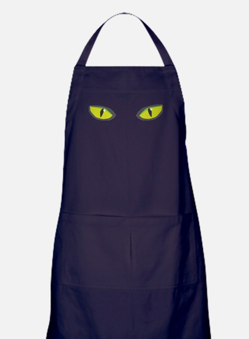 Yellow green cat eyes - halloween Apron (dark)