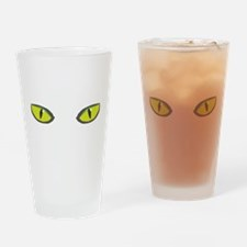Yellow green cat eyes - halloween Drinking Glass
