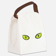 Yellow green cat eyes - halloween Canvas Lunch Bag