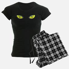 Yellow green cat eyes - halloween pajamas