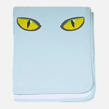 Yellow green cat eyes - halloween baby blanket