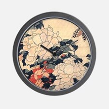 Hokusai Peonies and Butterfly Wall Clock