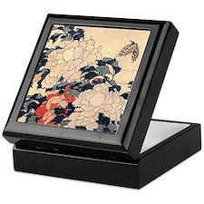 Hokusai Peonies and Butterfly Keepsake Box