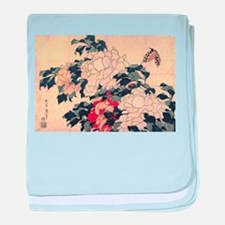 Hokusai Peonies and Butterfly baby blanket