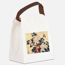 Hokusai Peonies and Butterfly Canvas Lunch Bag