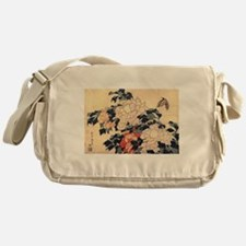 Hokusai Peonies and Butterfly Messenger Bag
