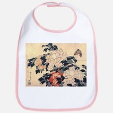 Hokusai Peonies and Butterfly Bib