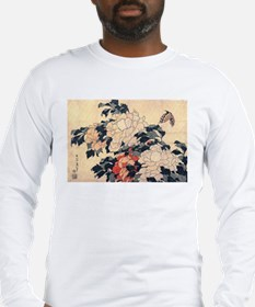 Hokusai Peonies and Butterfly Long Sleeve T-Shirt