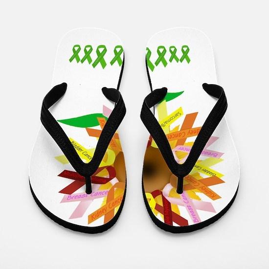 Cancer Ribbon Sunflower Flip Flops