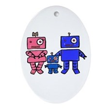 Robot Family Ornament (Oval)