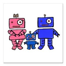 "Robot Family Square Car Magnet 3"" x 3"""
