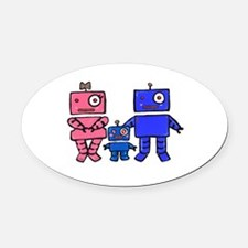 Robot Family Oval Car Magnet