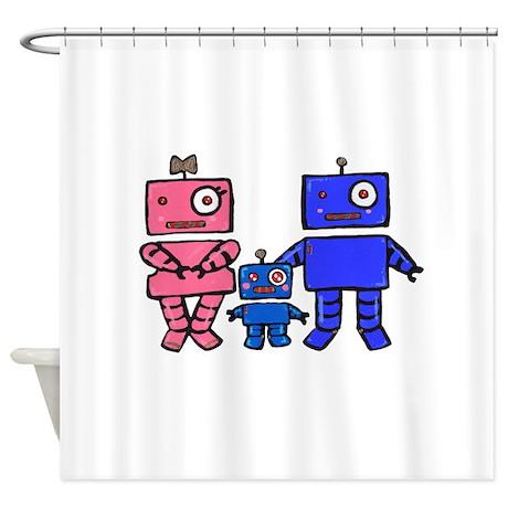 Robot Family Shower Curtain