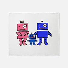 Robot Family Throw Blanket