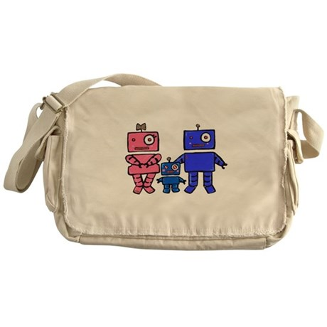 Robot Family Messenger Bag