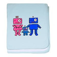 Robot Family baby blanket