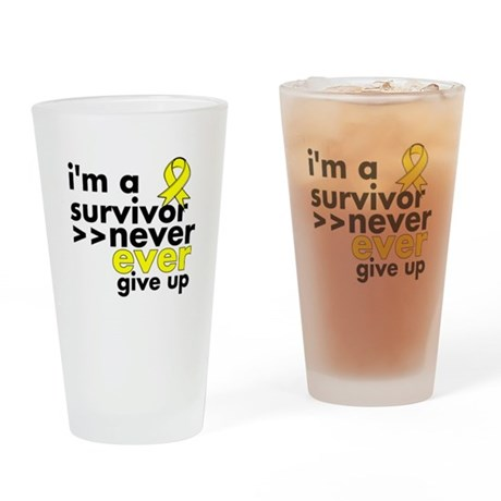 Never Give Up Sarcoma Cancer Drinking Glass