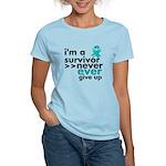 Never Give Up Ovarian Cancer Women's Light T-Shirt