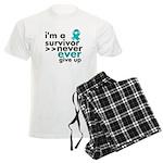 Never Give Up Ovarian Cancer Men's Light Pajamas