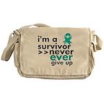 Never Give Up Ovarian Cancer Messenger Bag