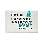 Never Give Up Ovarian Cancer Rectangle Magnet (100