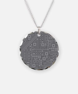 Gray Circuit Board Necklace
