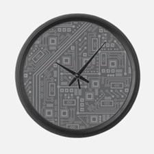 Gray Circuit Board Large Wall Clock