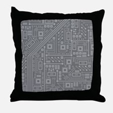 Gray Circuit Board Throw Pillow