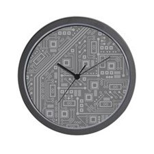 Gray Circuit Board Wall Clock