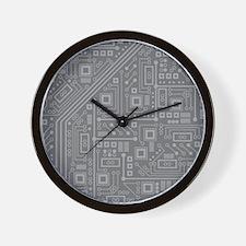 Gray Circuit Board Wall Clock