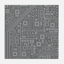 Gray Circuit Board Tile Coaster