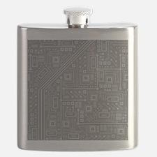 Gray Circuit Board Flask