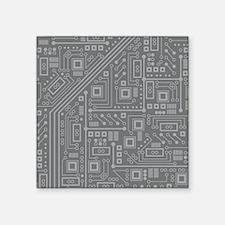 """Gray Circuit Board Square Sticker 3"""" x 3"""""""
