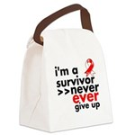 Never Give Up Oral Cancer Canvas Lunch Bag