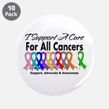 """I Support A Cure For All Cancers 3.5"""" Button (10 p"""