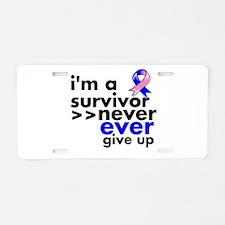 Survivor Male Breast Cancer Aluminum License Plate