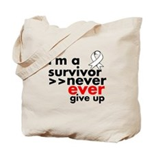 Never Give Up Lung Cancer Tote Bag