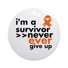Never Give Up Kidney Cancer Ornament (Round)