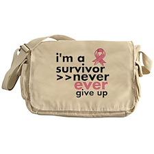 Never Give Up Breast Cancer Messenger Bag