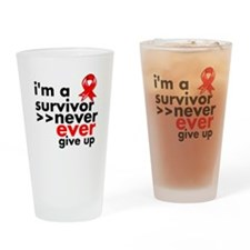 Never Give Up Blood Cancer Drinking Glass