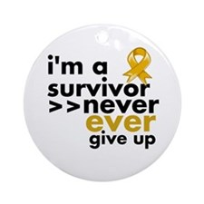 Never Give Up Appendix Cancer Ornament (Round)