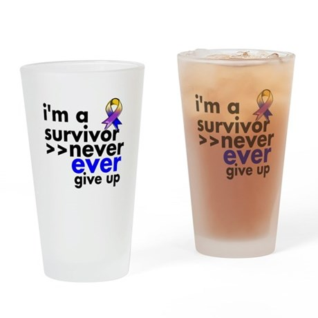 Never Give Up Bladder Cancer Drinking Glass