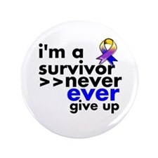 "Never Give Up Bladder Cancer 3.5"" Button"