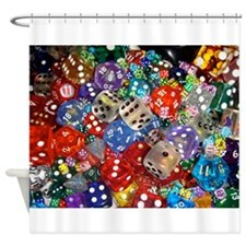 Lets Roll - Multicoloured Dice Shower Curtain