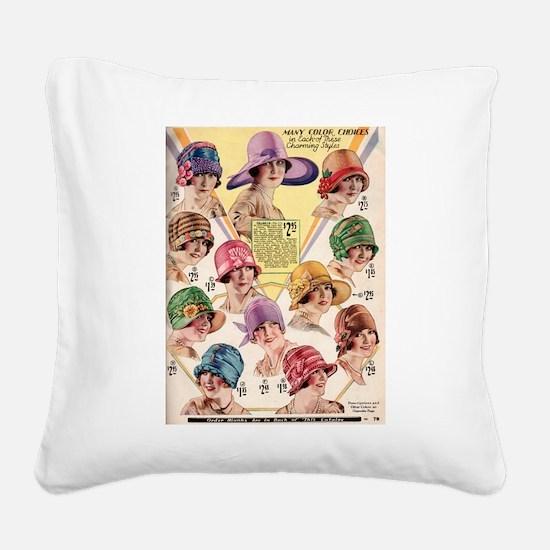 Flapper Hats Square Canvas Pillow