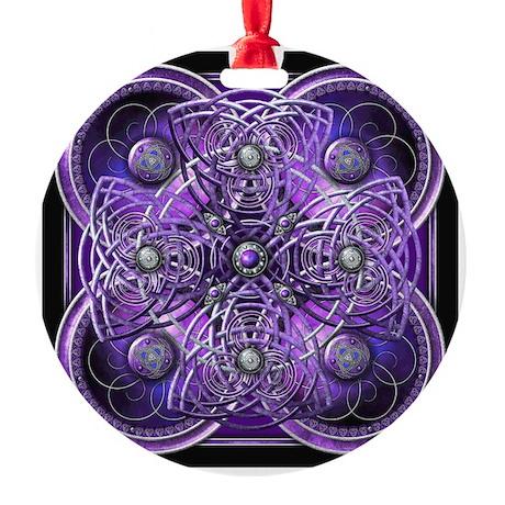 Purple Celtic Tapestry Round Ornament