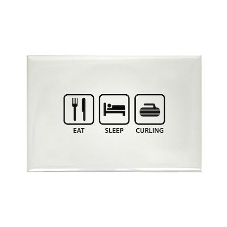 Eat Sleep Curling Rectangle Magnet (10 pack)