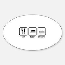 Eat Sleep Curling Sticker (Oval)